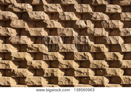 structural wall made of rough natural stone