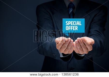 Special offer business model and marketing offer concept. Businessman hold virtual label with text special offer.