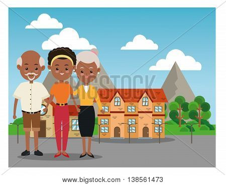 Family cartoon concept represented by grandparents with daughter icon over city landscape.  Colorfull illustration