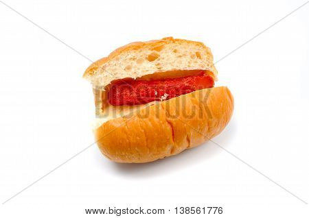 sweet yeast buns stuffed with hot dog on white background