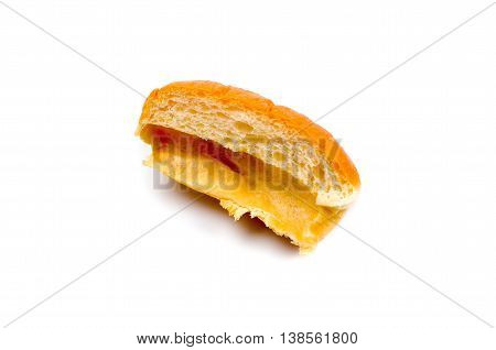 sweet yeast buns stuffed with jam on white background