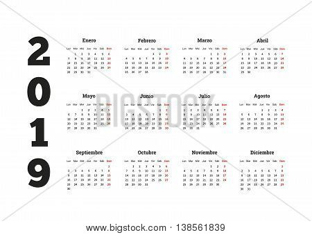 2019 year simple calenar in spanish isolated on white