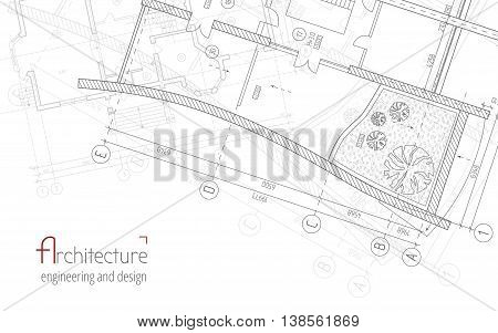 Architectural vector background. Gray building plan silhouette and logo architecture, engineering and design company.