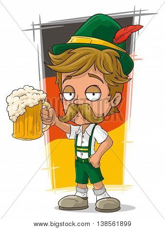 A vector illustration of cartoon little bavarian with hat and beer