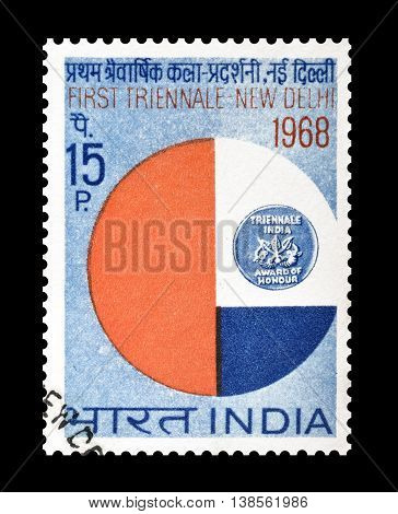 INDIA - CIRCA 1968 : Cancelled postage stamp, printed by India, that promotes First Triennale Art Exhibition in New Delhi.