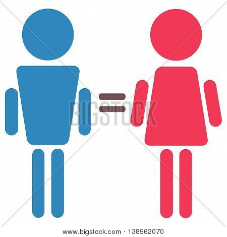 man and woman equality symbol blue and pink isolated female and male equal icons