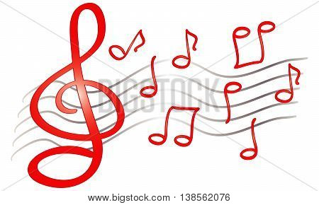 funny hand drawn music notes treble clef isolated red sketch on white