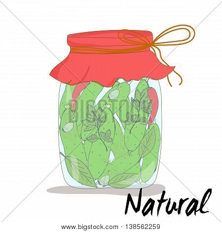Canning cucumbers. Preserved vegetables. Vector illustration. Cucumbers in jar.