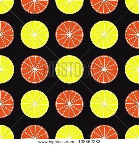 Lemon and orange slices on black background. Citrus seamless pattern.