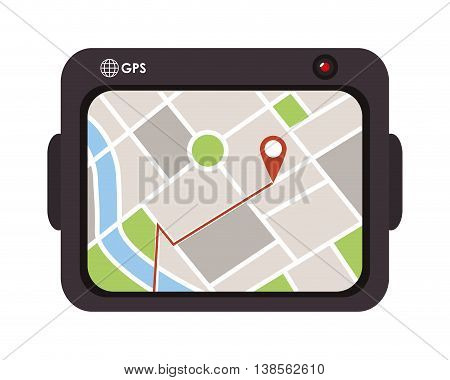 flat design gps device icon vector illustration
