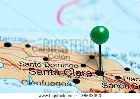 Santa Clara pinned on a map of Cuba