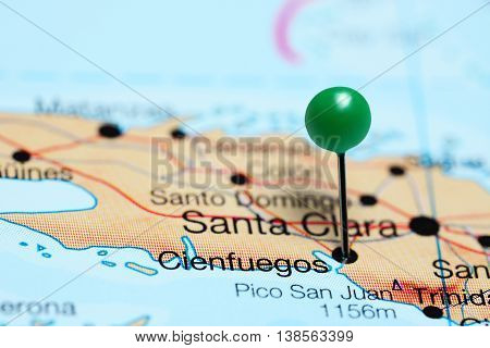 Cienfuegos pinned on a map of Cuba
