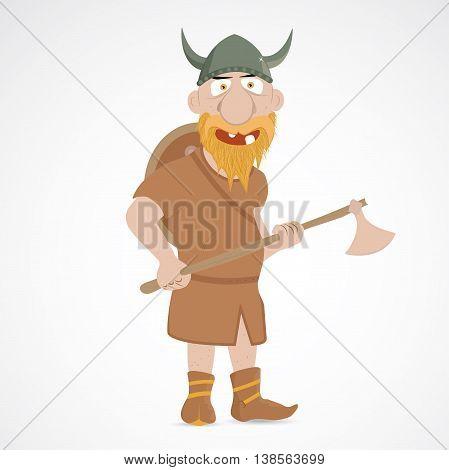 Funny cartoon viking with shield and axe.