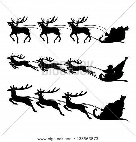 Santa on a sleigh with reindeers vector