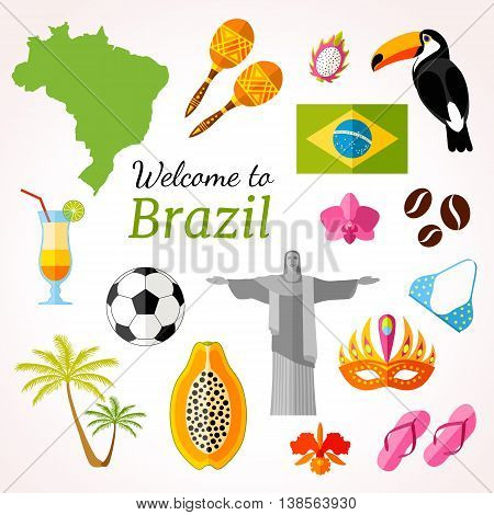Brazil travel banner with icons souvenirs design elements and famous Brazilian symbols. Vector illustration in flat style with inscription: Welcome to Brazil.