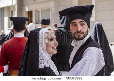 CAGLIARI, ITALY - May 1, 2015: 359 ^ Religious Procession of Sant'Efisio - Sardinia - portrait of young boys in traditional Sardinian costume