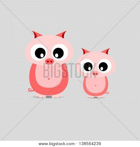 Cute pigs family Mother and Child Illustration standing at clear background.