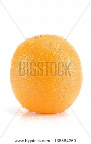 Fresh orange fruit with water drops isolated on white background