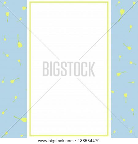 Flower greeting card. Wedding invitation in blue tones