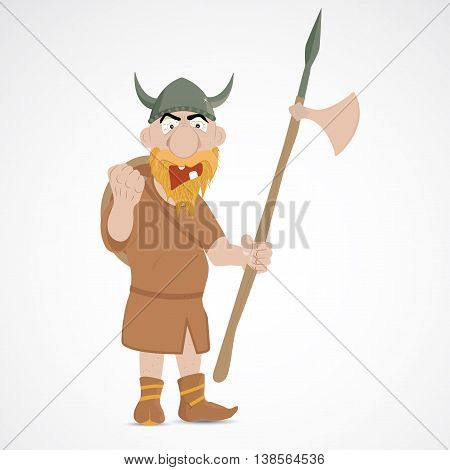 Funny cartoon viking with axe showing fist