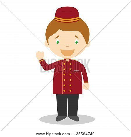 Cute cartoon vector illustration of a bellboy