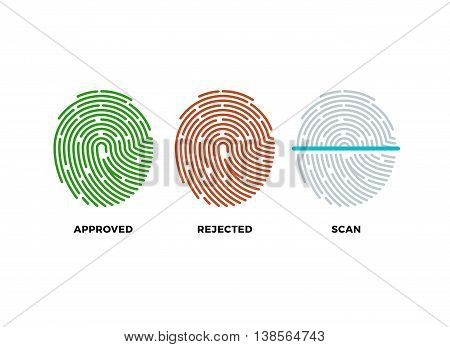 Fingerprint thumbprint vector icons set. Approved, rejected and scan symbols. Approved person with fingerprint, identification with thumbprint or fingerprint