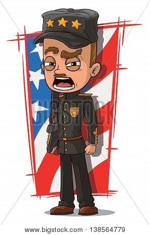A vector illustration of cartoon shouting general in black uniform