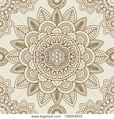 Indian mehendi boho hand drawn seamless background. Vector illustration
