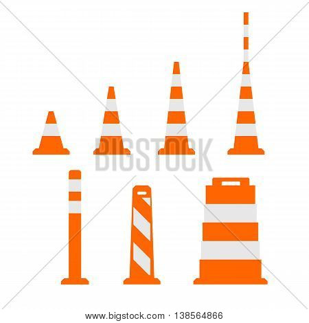 Traffic cones and barricades flat on white
