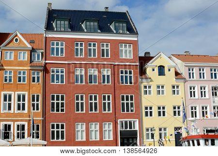 Nyhavn townhouses a famous landmark, Copenhagen, Denmark