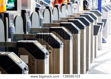 London UK - July 5 2016 - Ticket gates in Kings Cross train station
