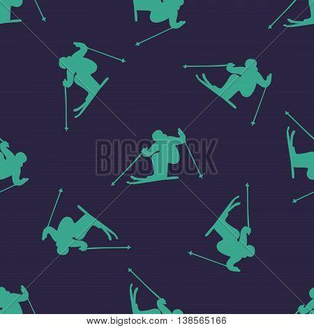 Ski downhill creative seamless pattern. Vector blue skiing background