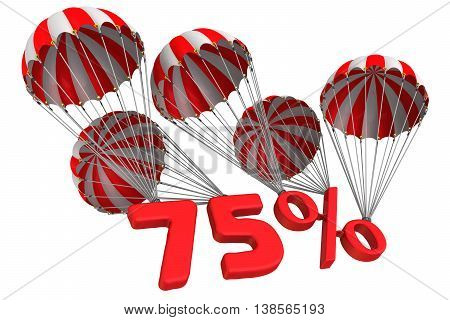 Seventy five percent is falling down on parachutes. Isolated. 3D Illustration