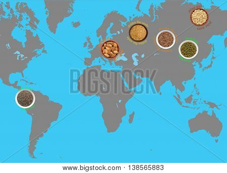Super Food: flax, chia seeds, pine nuts, almonds, seeds, mung bean, where they are grown on the world map.