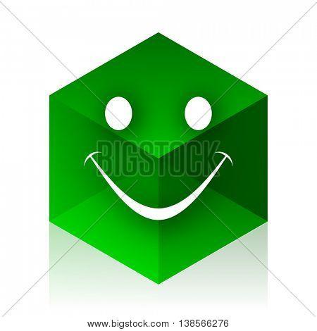 smile cube icon, green modern design web element