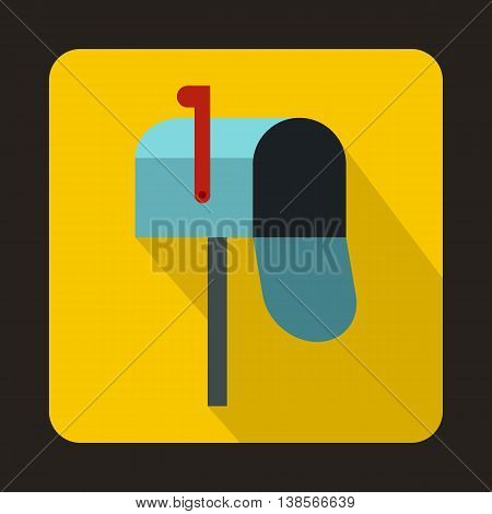 Open blue mailbox icon in flat style on a yellow background