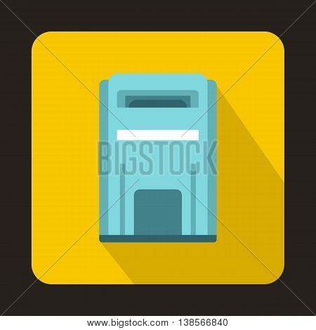 Blue square post box icon in flat style on a yellow background