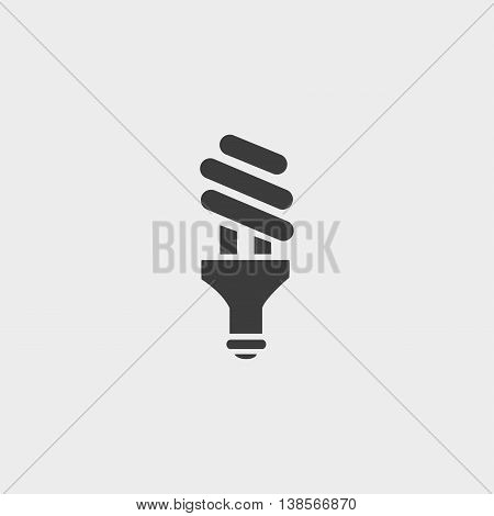 Led Bulb Icon in a flat design in black color. Vector illustration eps10