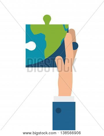 flat design hand holding puzzle piece of earth icon vector illustration