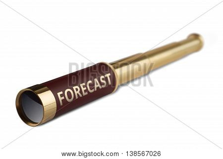 3d illustration business concept with a vintage telescope having the word forecast written on it