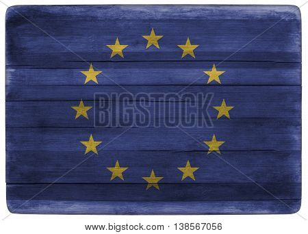 horizontal front view 3d illustration of an European Union flag on wooden textured cooking board