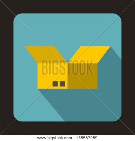 Opened cardboard box icon in flat style on a baby blue background
