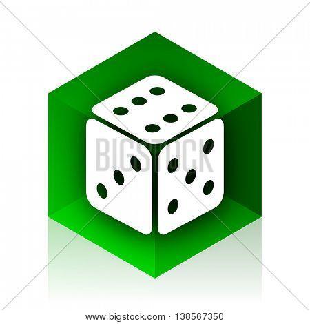 game cube icon, green modern design web element