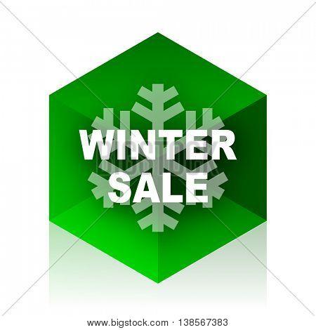 winter sale cube icon, green modern design web element