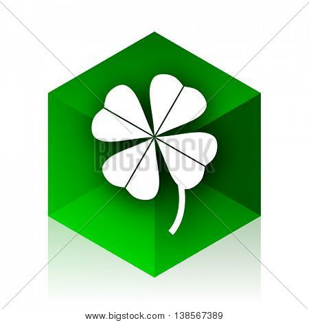 four-leaf clover cube icon, green modern design web element