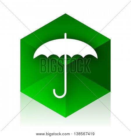 umbrella cube icon, green modern design web element