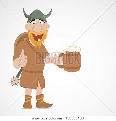 Funny cartoon viking with jug of beer showing thump up