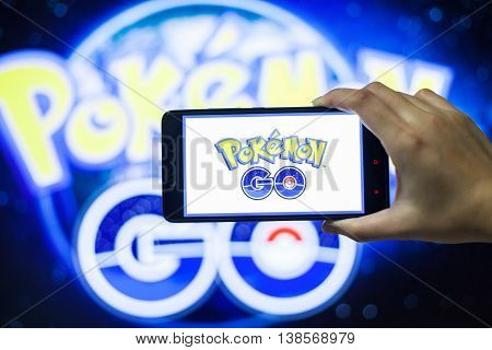 California, United States, 13 July 2016 : Pokémon Go is a free-to-play location based augmented reality mobile game developed by Niantic and published by The Pokémon Company as part of the Pokémon franchise.