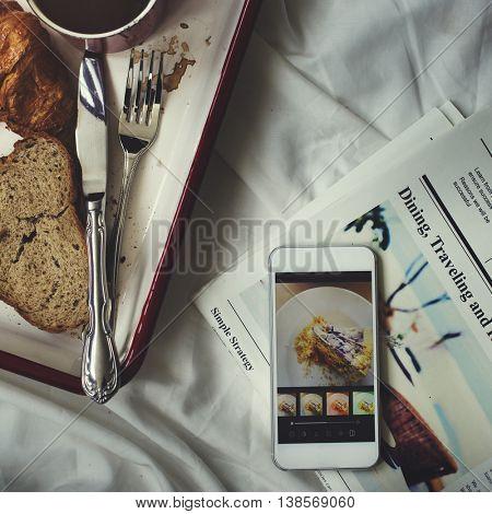 Bread Croissant Coffee Newspaper Leisure Chill Concept