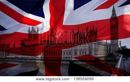British union jack flag and Big Ben Clock Tower and Parliament house at city of westminster in the background